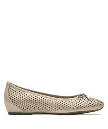 Beige leather bow ballet flats