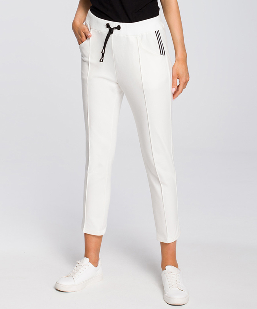 Ecru white crop casual trousers Sale - made of emotion