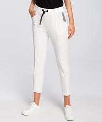 Ecru white crop casual trousers