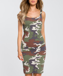 Green camouflage print dress