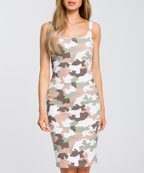 Multi-colour camouflage print dress