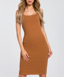 Caramel figure-hugging dress