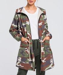 Multi-colour camo print jacket