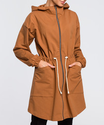 Caramel cinched waist jacket