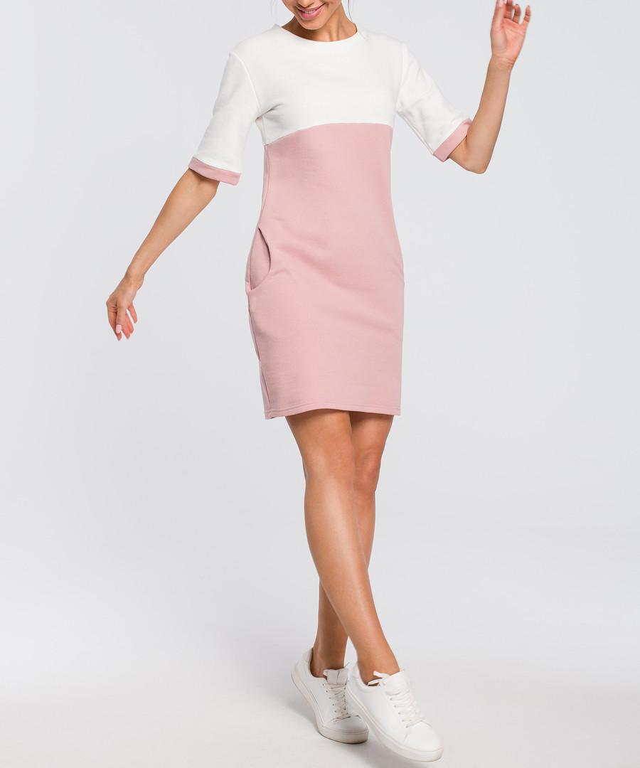 Powder & white colour block dress Sale - made of emotion