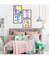 4pc Rainbow framed painting set