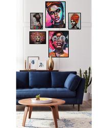 5pc Portrait framed painting set