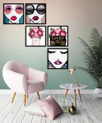 5pc Floral & face framed painting set