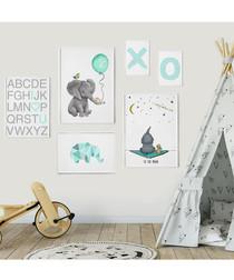 6pc Elephant baby framed painting set