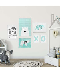 6pc Polar bear baby framed painting set