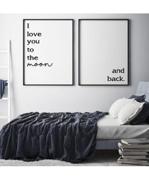 2pc I love you Moon framed painting set