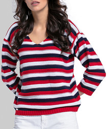 Red wool blend stripe jumper