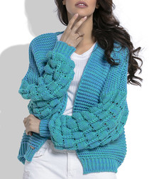 Azure wool blend knitted cardigan