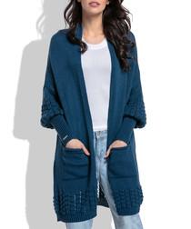 Navy wool blend knit longline cardigan