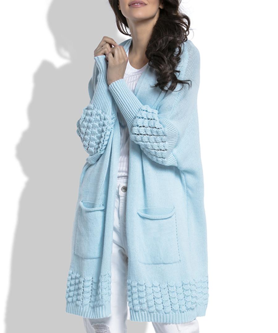 Blue wool blend knit longline cardigan Sale - fobya