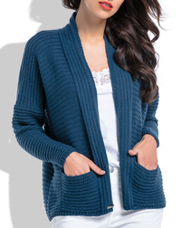 Navy pocket horizontal knit cardigan