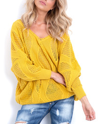 Yellow mesh knit V-neck jumper