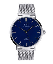 Belgravia silver-plated & navy watch