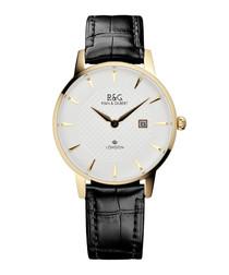 Mayfair black leather watch