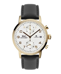 Westminster black leather watch