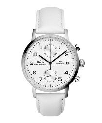 Westminster white leather strap watch