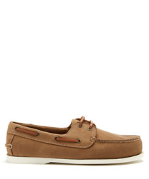 Chestnut brown leather boat shoes