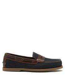 Navy & brown leather boat shoes