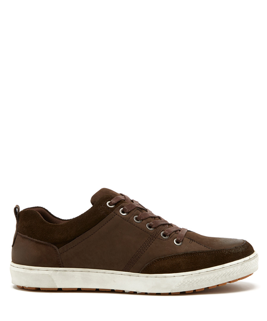 Chocolate brown nubuck suede sneakers  Sale - sterling and hunt
