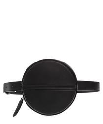Black leather logo round belt bag