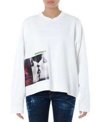White pure cotton graphic sweatshirt