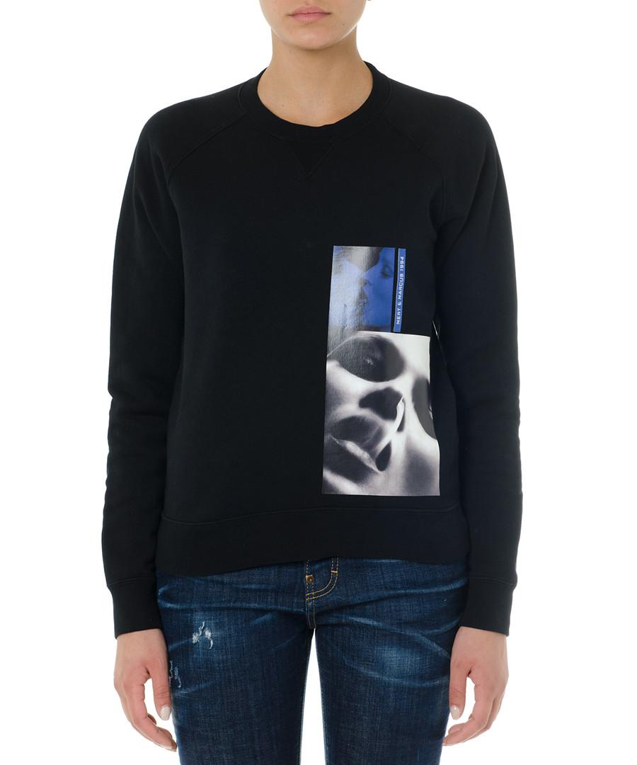Black pure cotton graphic sweatshirt Sale - dsquared2