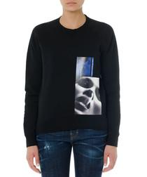 Black pure cotton graphic sweatshirt