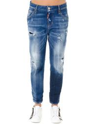 Acid blue cotton blend distressed jeans