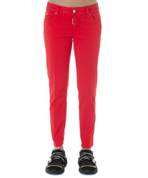 Red cotton blend jeans