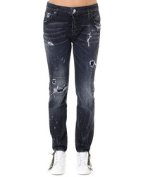 Black cotton blend boyfriend jeans