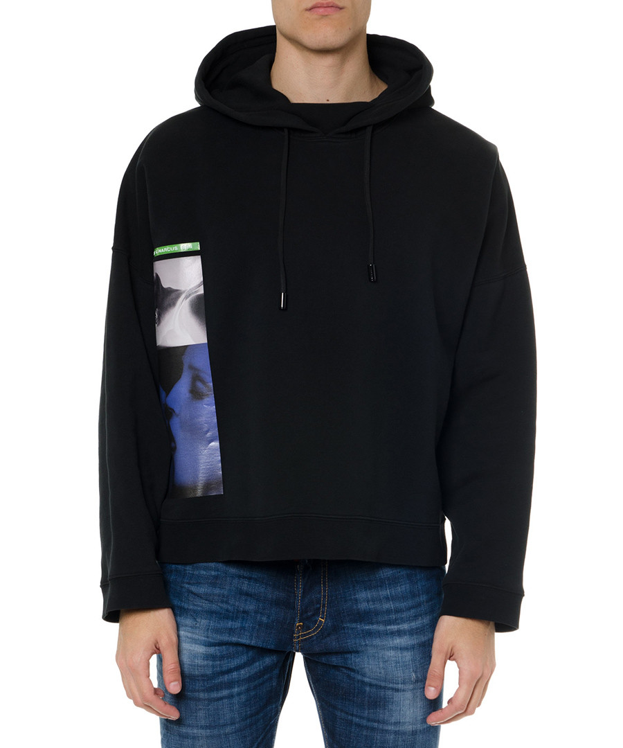 Black pure cotton graphic print hoodie Sale - dsquared2