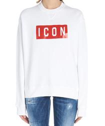 White pure cotton logo sweatshirt