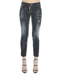 Black cotton blend denim jeans