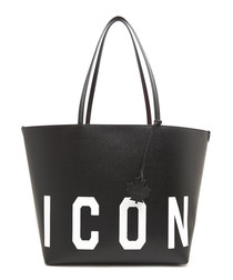 Black leather logo shopper