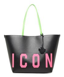 Black & pink leather logo shopper