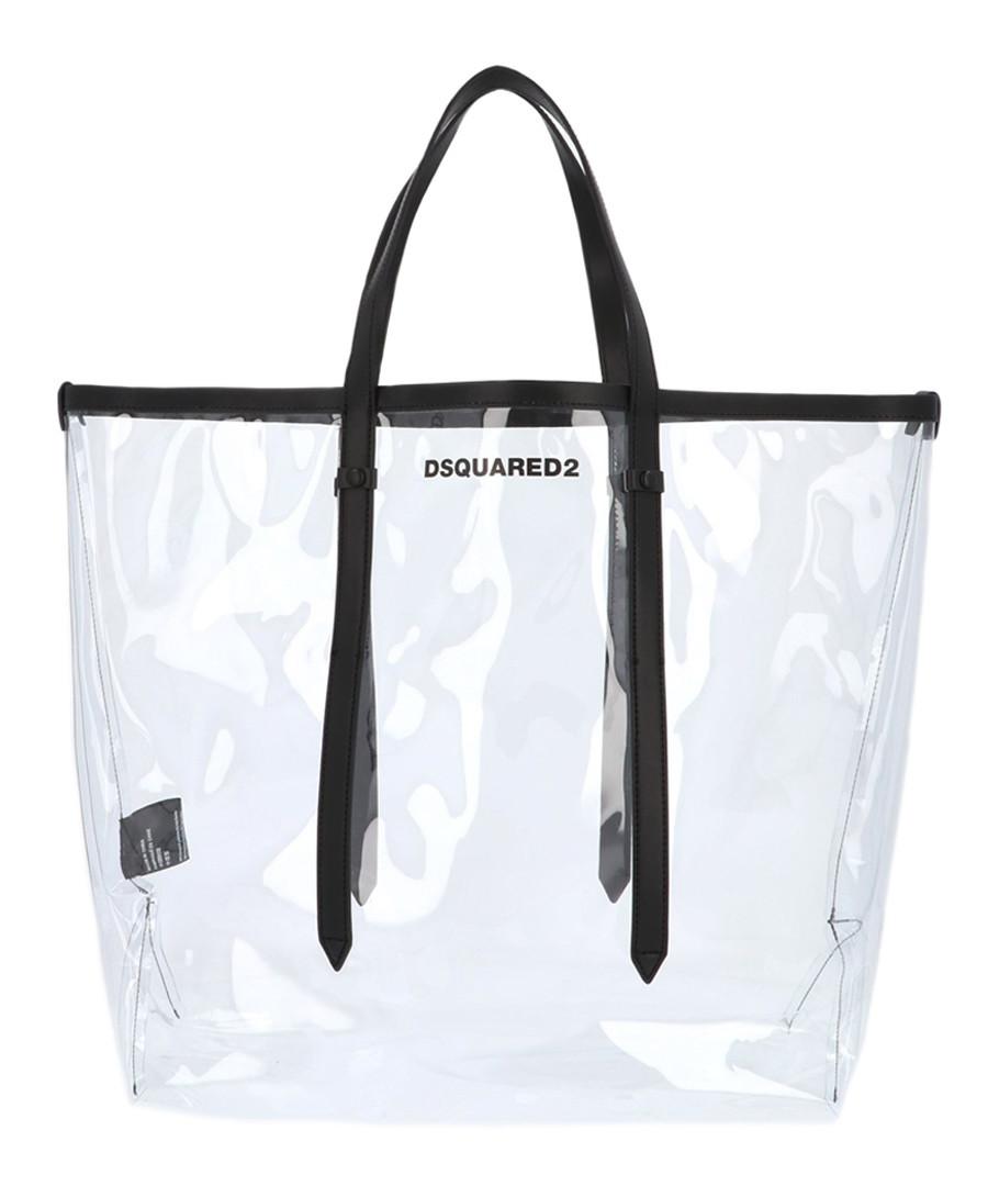 Transparent leather trim logo shopper Sale - dsquared2