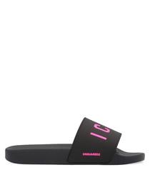 Black & pink logo slip-ons