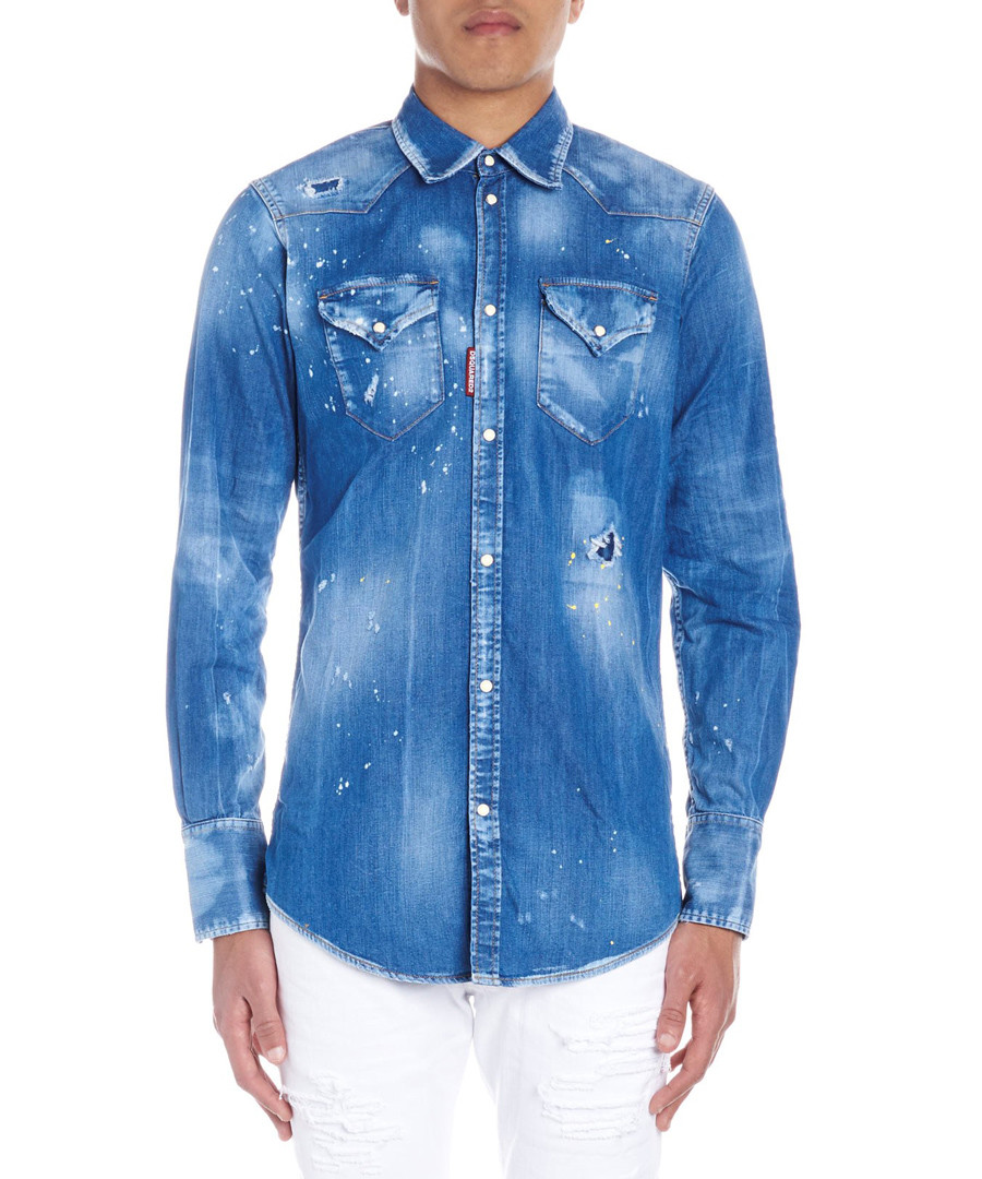 Blue cotton blend distressed shirt Sale - dsquared2