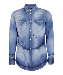 Blue cotton blend wash button-up top