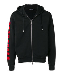 Black pure cotton zip-up hoodie