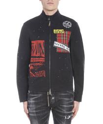 Black pure cotton graphic zip-up jacket