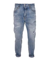 Blue cotton blend distressed jeans