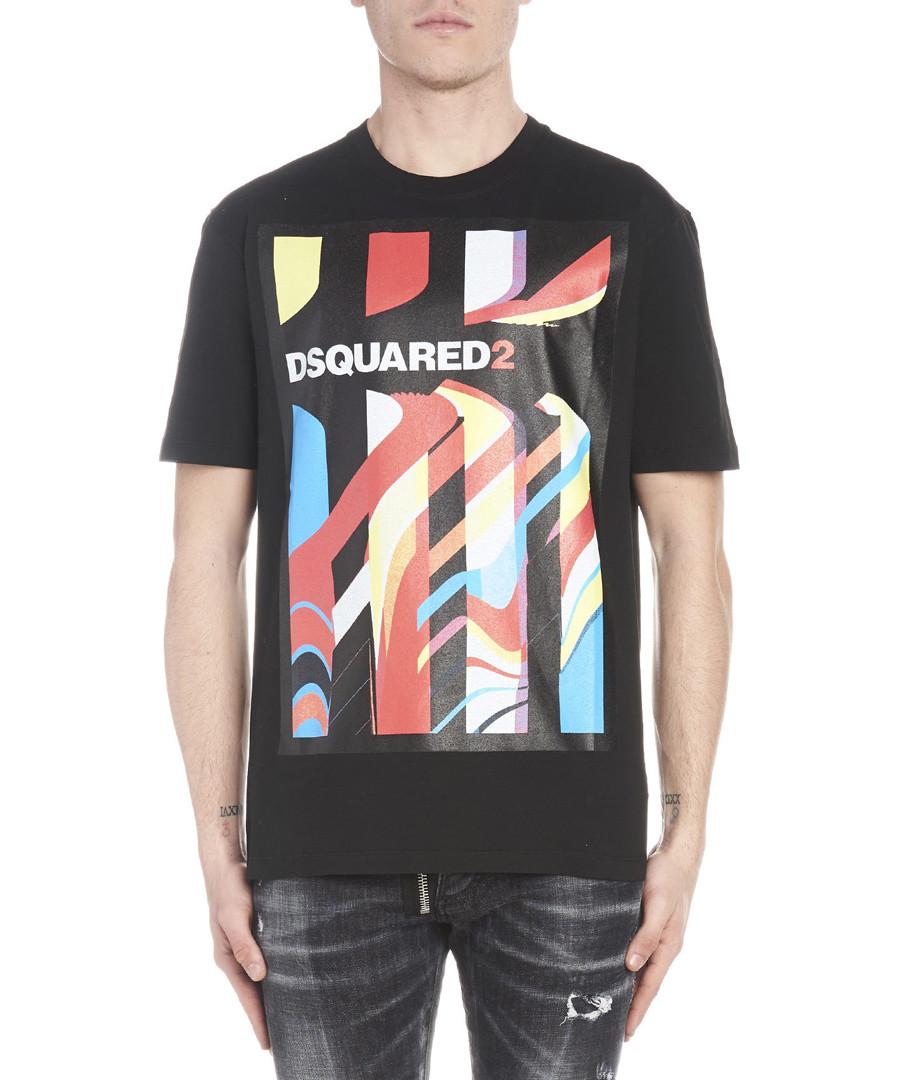 Black pure cotton print logo T-shirt Sale - dsquared2