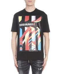 Black pure cotton print logo T-shirt