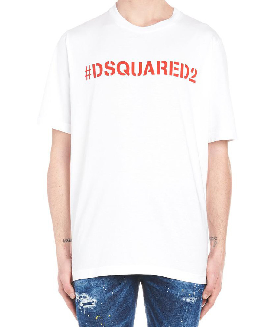 White pure cotton logo T-shirt Sale - dsquared2